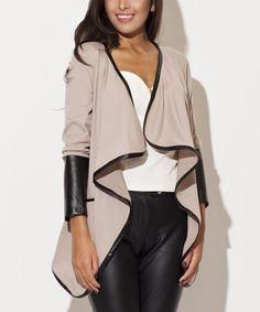Beige Faux Leather-Trim Open Cardigan #zulily #zulilyfinds