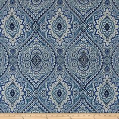 Swavelle/Mill Creek Purana Damask Ocean Blue from @fabricdotcom  Screen printed on a linen/rayon blend this medium/heavyweight fabric is very versatile and perfect for window treatments (draperies, valances, curtains, and swags), toss pillows and upholstery. Colors include shades of blue and ivory.