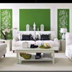 Green white living room