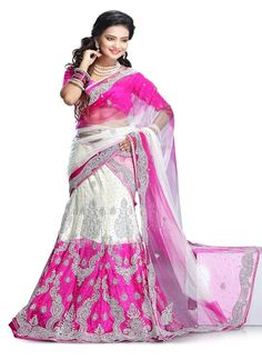 Pink White Net Wedding Lehenga Choli #wedding wear #low cost choli #bridal wear