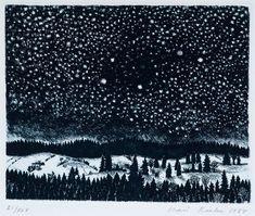 Miss Moss · inari krohn Winter Night, Winter Art, Nocturne, Miss Moss, Print Artist, Winter Scenes, Gravure, Vincent Van Gogh, Japanese Art