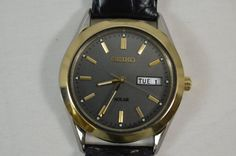 Seiko Solar V158-0AB0 Stainless Steel Gold Tone Men's Watch Black Calf Skin Band #Seiko #Casual
