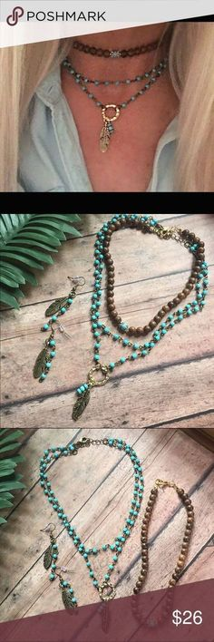 Boho necklace chocke Boho necklace chocker set with earrings This set is turquoise beads with a gold ring with feather, the other chocker is sandalwood beads on stretchable cord measuring 13 inches, the turquoise beads are 14 1/2 and 16 inches with extender. This set comes with boho feather earrings, handmade, new only worn for pics kathy netto designs Jewelry Necklaces
