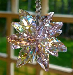 """Estelle Pink - Swarovski Crystal Sun Catcher with Light Pink and Crystal AB Octagons, For Home or Car, 5"""""""