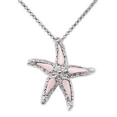 Wyland Starfish Necklace with Mother of Pearl in Sterling Silver