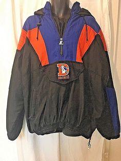 cc983c3355 Denver Broncos Starter Jacket Proline Pullover 1 4 Zip Vintage XXL NFL Puffy   Starter  DenverBroncos