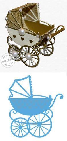 """Landau en papier cartonné et tissu. Les côtés sont découpés avec le Creatable Die """"Eline's Baby Stroller"""" LR0218 de Marianne Design"""