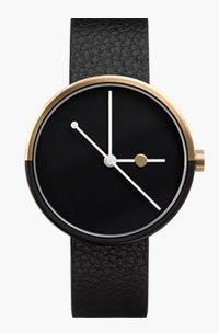 Eclipse (black/gold) watch by AÃRK. Available at Dezeen Watch Store… Cool Watches, Watches For Men, Simple Watches, Modern Watches, Men's Watches, Eclipse Watch, Dezeen Watch Store, Black And Gold Watch, Mens Designer Watches