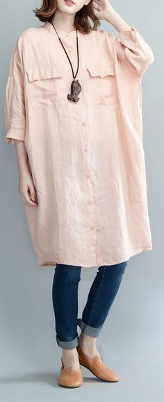 boutique pink linen knee dress