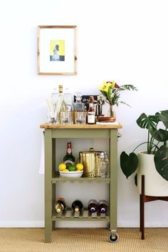 Turn a $60 Ikea Kitchen Cart Into a Gorgeous, Party-Ready Mini Bar