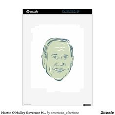Martin O'Malley Governor Maryland iPad 2 Decal. Illustration showing Martin O'Malley, American Governor of Maryland, elected politician and Democratic Party member on isolated background done in etching sketch style. #democrat #americanelections #elections #vote2016 #election2016