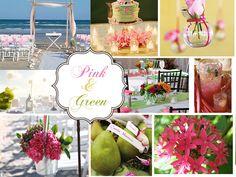 pink and green beach wedding