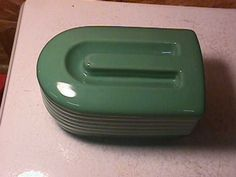 """Hall China Westinghouse """"Left Overs"""" Refrigerator Dish- Green"""