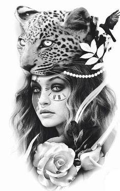 My new tat Skull Tattoos, Animal Tattoos, Leg Tattoos, Body Art Tattoos, Sleeve Tattoos, P Tattoo, Fire Tattoo, Girl Face Tattoo, Native American Tattoos