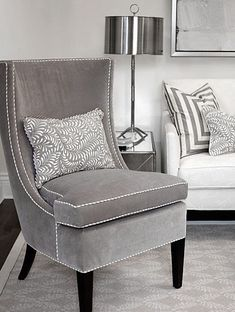 ♅ Dove Gray Home Decor ♅ velvet chair