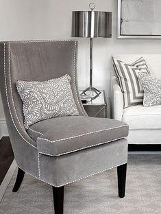 ♅ Dove Gray Home Decor ♅ velvet chair
