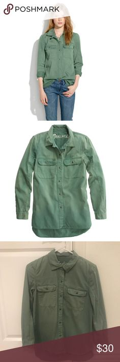 Madewell tomboy worksheet in army green *in very good condition. can be worn as a shirt or jacket. longer in the back. can fit a small or x-small.  PRODUCT DETAILS Refined yet rustic: A lovingly worn-in workshirt, it'll take you from sunrise to sunset in low-key style. Boyfriend fit. Cotton. Machine wash. Madewell Tops Button Down Shirts