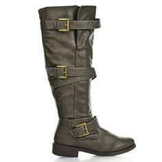 Jagger06A Mushroom Grey Strappy Knee High Zip Up Riding Faux Wooden Thick Heel Boots-7.5 ** See this great product.