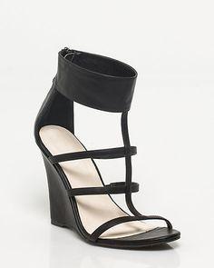 Le Château |  Leather-like Ankle Cuff Wedge