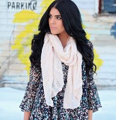 droplet printed dress + white scarf