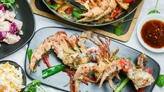 salt and pepper crab with mainese potato salad Crab Legs Recipe, Cress, Recipe For 4, Salt And Pepper, Paella, Seafood Recipes, Family Meals, Potato Salad, Potatoes