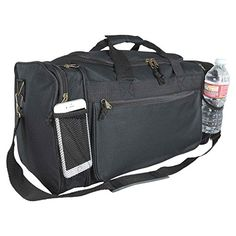 81fc19c090 Blank Duffle Bag Sports Duffel Bag in Black Gym Bag Water Bottle Holders