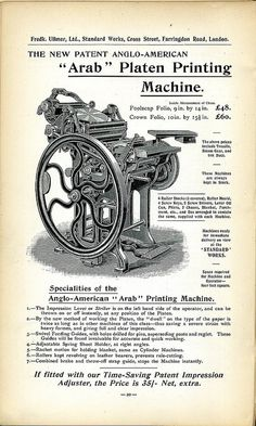 From the Frederick Ullmer 1902 catalogue Printing And Binding, Printing Press, Offset Printing, 3d Printing, Letterpress Machine, Letterpress Printing, Antique Tools, Vintage Tools, Document Printing