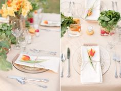 Clean and simple place setting with a fresh flower and menu