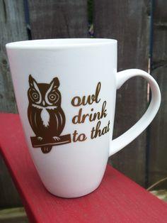 Owl Drink to That mug - ceramic mug, handmade mug, owl mug Owl Mug, Ceramics, Mugs, Drinks, Unique Jewelry, Tableware, Handmade Gifts, Etsy, Ceramica