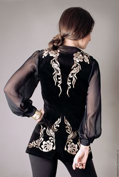 """An elegant velvet vest with hand-embroidered """"Golden lights"""" – shop online on Livemaster with shipping Hijab Fashion, Fashion Dresses, Traditional Dresses, Costume Design, Ideias Fashion, Evening Dresses, Cool Outfits, My Style, Womens Fashion"""