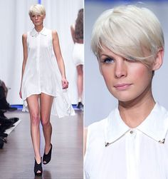 Long pixie cut with side bangs- I'm not sure this is a yes please for me but she sure is rockin' it.