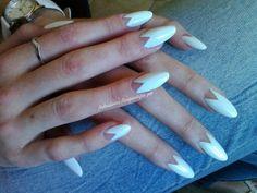 White Negative Space Almond nails