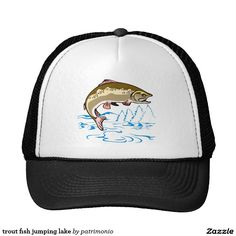 trout fish jumping lake trucker hat. Retro style trucker hat with an illustration of a trout jumping out of the lake. #truckerhat #trout #fish