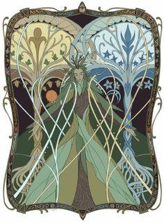 Yavanna and the Two Trees of Valinor by joscomie