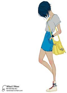 art blue hair illustration