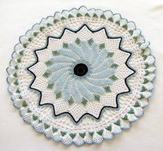 Blue Beaded Crocheted Doily