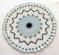 Blue Beaded Crocheted Doily