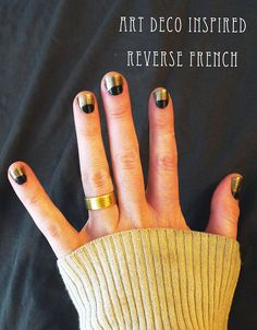 art deco inspired reverse french: http://www.samanthahahn.com/blog/2012/05/04/art-deco-inspired-reverse-french-manicure/