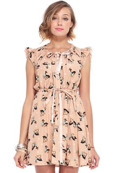 Deer Print Pleated Chiffon Pink Dress -  Impatiently waiting for this dress to arrive in the mail.