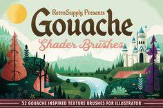 Gouache Shader Brushes for Adobe Illustrator - RetroSupply Co. Illustrator Brushes obtain Illustrators, Texture, Adobe Illustrator, Shader Brush, Illustrator Tutorials, Illustration, Illustrator Brushes, Gouache, Vector Art