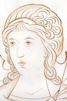Christian Drawings, Christian Art, Byzantine Icons, Byzantine Art, Angel Drawing, Line Drawing, Religious Icons, Religious Art, Religious Paintings