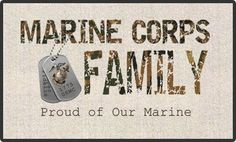 Camo Marine Corps Family Doormat. Proud of our Marine, with Dogtags and Eagle, Globe and Anchor. At the EGA Shop