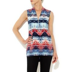 Wallis Blue tribal print zip shirt- at Debenhams.com