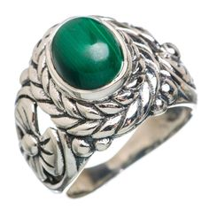 Malachite 925 Sterling Silver Ring Size 7.5 RING767092