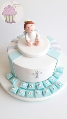 Torta para bautizo Baptism Party Favors, Baptism Invitations, Baby Shower Cakes, Baby Boy Shower, Christening Cake Boy, Baby Dedication, Communion Cakes, Cakes For Boys, Party Cakes