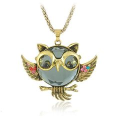 Pendant Long Chain Owl Jewelry Beautiful Crystal Vintage Owl Necklaces (Mix minimum order is USD10) $3.99