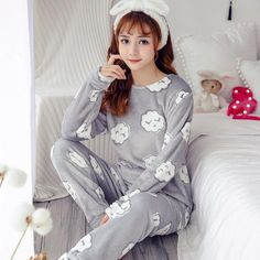 Coral Velvet Winter Women Pajama Sets Female Flannel Round Neck Cute  Cartoon Camel White Letter Home 106362837