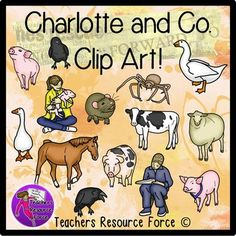 Charlotte's Web clip art (color and black line)