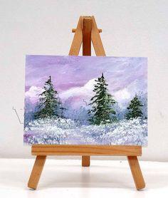 Falling Snow 1. 3x4 inch original miniature oil painting