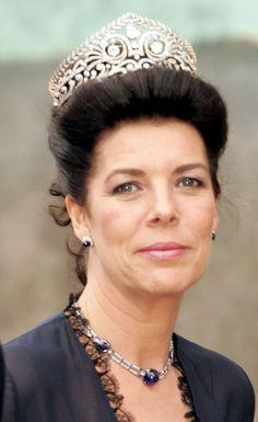 Carolina de Mónaco luciendo la tiara Brunswick de La Casa de Hannover.